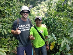 Robby poses with Pablo (our waterfall tour guide); Juayua