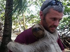 Robby getting a sloth hug!