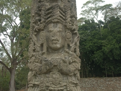 Amazing detail on the Mayan stelae of Copan Ruins