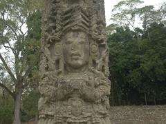 Amazing detail on the Mayan stelae of Copan Ruins
