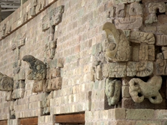Macaw carvings on a temple; Copan Museum