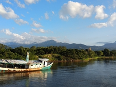 View as we pull out from the La Ceiba harbor towards Roatan