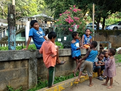 Kids chilling by the roadside; Punta Gorda