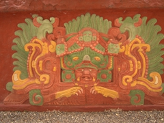 Detail of what the Rosalila Temple's elaborately painted stucco decoration would have looked like