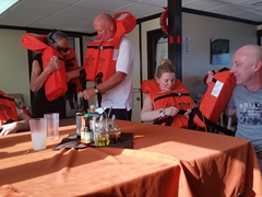 Safety drill on board the Okeanos Aggressor
