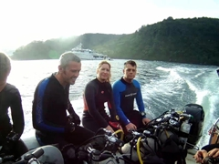 Gavin, Robby, Amber, David, and Dale on our ride out to a dive site