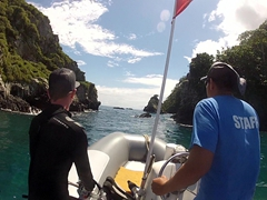 Captain Carlos taking us on a wild zodiac ride around Cocos Island