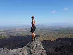 Stopping to admire the volcanic scenery; Cerro Negro