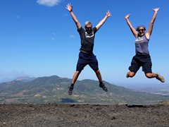 Celebrating our climb to the top of Cerro Negro volcano