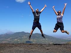 Celebrating our climb to the top of Cerro Negro volcano
