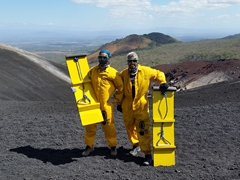 All geared up and ready to volcano board!
