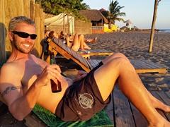 Robby admiring the sunset at Las Peñitas beach