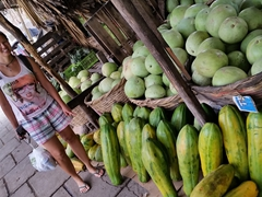 Becky points out the massive papayas on sale; Estelí