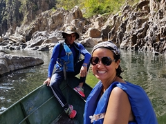 Joshua and Becky on the boat ride portion of our Somoto Canyon tour