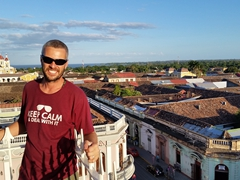 Robby admiring the views from the bell tower of Iglesia La Merced; Granada