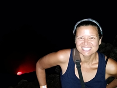 Becky at Masaya lava lake