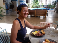 Becky enjoying our traditional breakfast; Selina Granada
