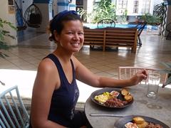 Becky enjoying our traditional breakfast; Selina Granada