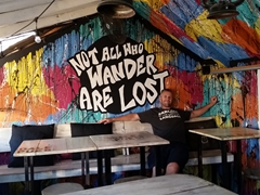 Great travel motto at Dale Pues, a burger joint in San Juan del Sur