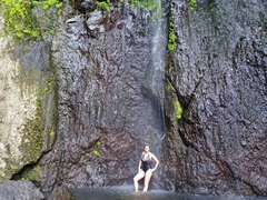 Becky taking a refreshing shower at the San Ramón waterfall