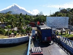 Saying goodbye to Ometepe from the top deck of our ferry