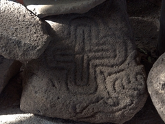 The village of Santa Cruz got its name from this cross carved petroglyph