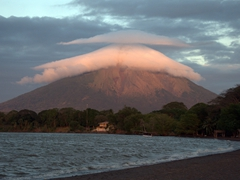 Cool cloud formation around Concepcion volcano at sunset