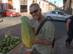 Robby and a giant papaya; Leon