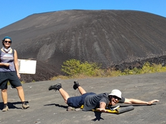 Getting ready to climb Cerro Negro for volcano boarding!