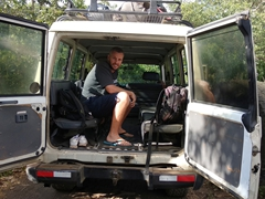 Robby in our 4WD vehicle that is needed to drive out to Telica volcano