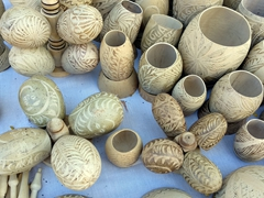 Gourds from the jicaro tree made into souvenirs for sale; Leon