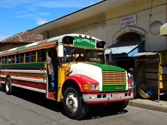 Colorful chicken bus; Granada