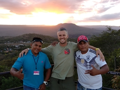 Wilfred, Robby and Juan Carlos admiring the sunset over Masaya volcano from El Coyotepe fortress