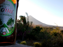 Toña beer's logo was definitely inspired by Concepcion volcano