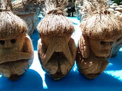 "Coconut carvings of the Three Wise Monkeys ""speak no evil, see no evil, hear no evil"""