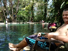 Robby warming up in the sun after a chilly swim in the natural spring; Ojo de Agua