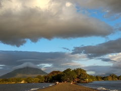 Concepcion is visible to the left but Maderas is obscured by clouds on the right side of the peninsula; Punta Jesus Maria