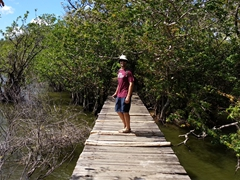 Robby walking around the Charco Verde lagoon