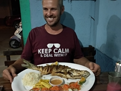 Robby orders a massive red snapper for dinner at La Lancha, the best seafood restaurant in San Juan del Sur