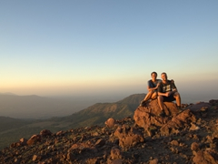 It is a magnificent sunset at the top of Telica