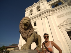 Becky mimics the lion's roar; Cathedral of Leon