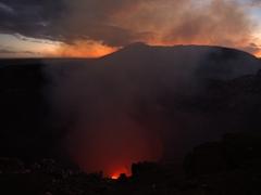 Masaya lava lake just after sunset