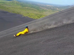 Becky gets the fastest time of our group down the volcano