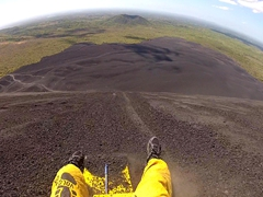 View down the volcano as Robby plummets down the steep slope