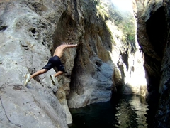 Robby jumping from an 8 meter cliff; Somoto Canyon