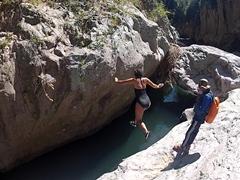 Becky taking a leap of faith; Somoto Canyon