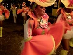 Dancers liven up the atmosphere; Calle La Calzada on a Saturday night; Granada