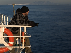 Robby scanning the horizon for a glimpse of killer whales
