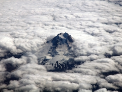 Gorgeous volcano scenery on our flight to Punta Arenas
