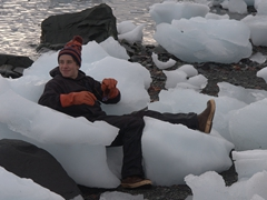 Leo finds a comfortable ice chair; D'Hainaut Island
